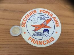 AUTOCOLLANT, Sticker «SPF SECOURS POPULAIRE FRANÇAIS - L'AVION DE LA RÉGION OUEST POUR LE CAMBODGE » - Aufkleber