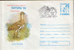 Romania - Postal Stationery Cover 1993 - Birds - The Little Bustard (otis Tetrax) - Grues Et Gruiformes