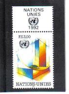 VV374 VEREINTE NATIONEN UNO GENF 1992 Michl 212 Mit TABS ** Postfrisch  ZÄHNUNG SIEHE ABBILDUNG - Ungebraucht