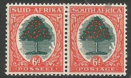 South Africa - 1950 Orange Tree 6d  Bilingual Pair  MH *    SG 119  Sc 61 - Unused Stamps
