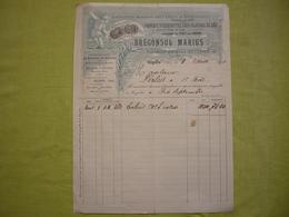 """Facture 1901  Fabrique D""""escoubettes Pour Filature De Soie Marius Brégonsul à Cogolin Var - 1900 – 1949"""