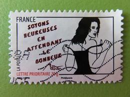 """Timbre France YT 542 AA - Femme De L'être - Miss.Tic - Street Art - """"Soyons Heureuses En Attendant Le Bonheur"""" - 2011 - Autoadesivi"""