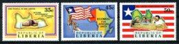 Liberia, 1991, Reconciliation, Map, Flag, ECOMOG, MNH, Michel 1541-1543 - Liberia