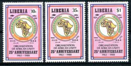 Liberia, 1988, OAU, Organization Of African Unity, Map, MNH, Michel 1411-1413 - Liberia
