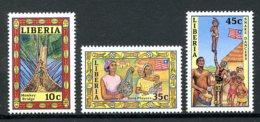 Liberia, 1988, Bridge, Culture, Folklore, MNH No Year Imprinted, Michel 1430-1432I - Liberia