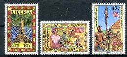 Liberia, 1988, Bridge, Culture, Folklore, MNH With Year Imprinted, Michel 1430-1432II - Liberia