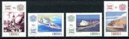 Liberia, 1988, Lloyds Insurance, Church, Plane, Ship, Boat, Fire, MNH, Michel 1435-1438 - Liberia