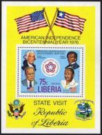 Liberia, 1976, USA Bicentennial, Presidents, Washington, Flags, MNH, Michel Block 83A - Liberia