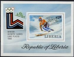Liberia, 1980, Olympic Winter Games Lake Placid, Skiing, MNH, Michel Block 95A - Liberia