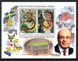 Liberia, 1995, Athletics World Championships, Sports, Flags, Maps, MNH, Michel Block 140 - Liberia