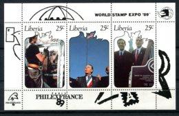 Liberia, 1989, World Stamp Expo And Philexfrance Stamp Exhibitions, MNH, Michel Block 123 - Liberia