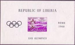 Liberia, 1960, Olympic Summer Games Rome, Running, Stadium, Sports, MNH Imperforated, Michel Block 16 - Liberia