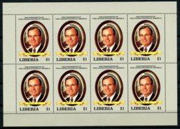 Liberia, 1989, USA President George Bush, MNH Sheetlet, Vertically Folded, Michel 1442 - Liberia