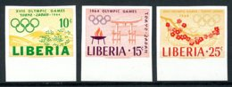 Liberia, 1964, Olympic Summer Games Tokyo, Sports, MNH Imperforated, Michel 623-625B - Liberia