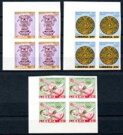 Liberia, 1967, Olympic Summer Games Mexico, Aztec Art, MNH Imperforated Blocks, Michel 680-682B - Liberia