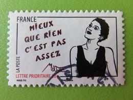 """Timbre France YT 547 AA - Femme De L'être - Miss.Tic - Street Art - """"Mieux Que Rien C'est Pas Assez"""" - 2011 - Adhésifs (autocollants)"""
