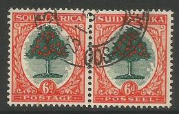 South Africa - 1950 Orange Tree 6d  Bilingual Pair  Used    SG 119  Sc 61 - South Africa (...-1961)