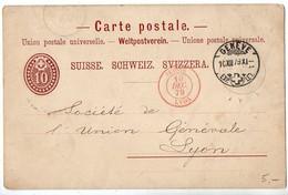 Cachet D'entrée Rouge 'Suisse Lyon' De 1879 Sur Entier Postal De Suisse - Poststempel (Briefe)