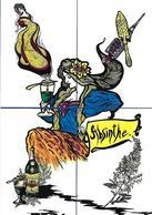 CPM ABSINTHE Puzzle De 4 Cartes Sur L'absinthe Type Art Nouveau Femme Tirage Limité En 16 Exemplaires Numérotés Signés - Comics