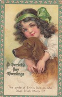 SAINT-PATRICK'S DAY ; Girl & Dog , Artist BRUNDAGE , 00-10s - Saint-Patrick
