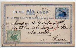 Australie Occidentale : Entier Postal Carte Cygne Pour La France Oblitérée D'Albany En 1893 - 1854-1912 Western Australia