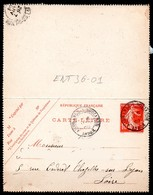 ENT36-01 : CL 10C Rouge Semeuse Daté 715 - Dept 36 (Indre) AIGURANDE-S-BOUZANNE 1908 Cachet Type A2 - Postal Stamped Stationery