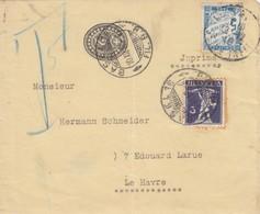 LETTRE DEVANT. 1910. SUISSE. 3c IMPRIMÉ BASEL POUR LE HAVRE TAXE DUVAL 5c  /  2 - 1859-1955 Covers & Documents