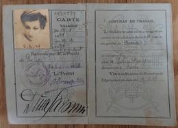 """Carte D'Identité Française N°33 """"Dina Saronni"""" - Danseuse étoile Et Meneuse De Groupe Aux Folies Bergère, Paris En 1934 - Documenti Storici"""