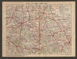 CARTE PLAN 1922 - NIORT POITIERS ANGOULEME CONFOLENS BELLAC ROUTES NATIONALES CHEMIN VICINAL CHATEAUX - Topographische Karten