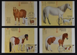 CHINA REPUBLIC / TAIWAN, SUPERB SET MAXIUMCARDS HORSE PAINTINGS FROM 1973 - 1945-... République De Chine