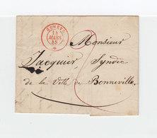 Sur LAC De Genève Pour Bonneville CAD Rouge Genève Mars 1845. Verso Cachet Linéaire Mars 14. Taxe Manuscrite 2. (2361x) - Postmark Collection