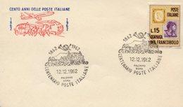 Busta 100 ANNI DELLE POSTE ITALIANE, Francobollo 15 Lire, 12/12/1962, Bollo PALERMO ROMA - PERFETTA AM-V-2 - 6. 1946-.. Repubblica