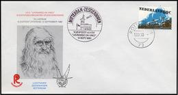 """Nederlands 1980. Cover Not Addressed. Self-portrait L. Da Vinci On Cover And Cachet """"Vliegfeest V.d. VSV L.da Vinci"""". - Cartas"""