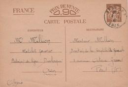 ENTIER IRIS 0.90C ORAN 4/1/41 BATIMENT DE LIGNE DUNKERQUE POUR PARIS - Marcophilie (Lettres)