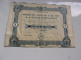 MINES DE HOUILLE & DE FER DE LA RUSSIE MERIDIONALE (capital 5 Millions) 1912 - Azioni & Titoli
