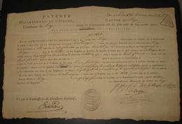 Patente Dept De L'Ourte Commune De Liège - 25 Pluviose An VII - 1799 - Vendeuse De Bière En Détail - Veuve D'Allemagne - Documents Historiques