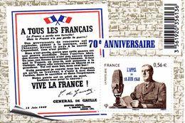 France.bloc No F4493 De 2010.appel Du 18 Juin 1940. De Gaulle.n**. - Sheetlets