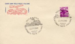 Busta 100 ANNI DELLE POSTE ITALIANE, Francobollo 15 Lire, 23/11/1962, Bollo BRENNERO MILANO - PERFETTA AM-V-2 - 6. 1946-.. Repubblica