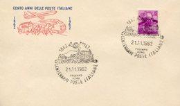Busta 100 ANNI DELLE POSTE ITALIANE, Francobollo 15 Lire, 21/11/1962, Bollo PALERMO ROMA - PERFETTA AM-V-2 - 6. 1946-.. Repubblica