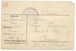 CARTE EN FRANCHISE / OFFIZIER GEFANGENENLAGER 1916 / OSNABRUCK POUR BRAM FRANCE - Briefe U. Dokumente