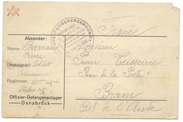CARTE EN FRANCHISE / OFFIZIER GEFANGENENLAGER 1916 / OSNABRUCK POUR BRAM FRANCE - Deutschland
