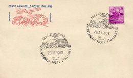 Busta 100 ANNI DELLE POSTE ITALIANE, Francobollo 15 Lire, 28/11/1962, Bollo ISELLE ROMA - PERFETTA AM-V-2 - 6. 1946-.. Repubblica