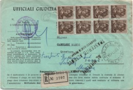 Michelangiolesca £. 25 Blocco Di 8 Su Raccomandata Atti Giudiziari Sa Pescara A Forlì 18.01.1964 - 1961-70: Marcophilie