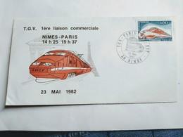 T.G.V. Enveloppe Premier Jour 1ere Liaison Nîmes- Paris - 1982 - FDC