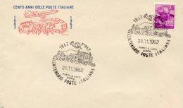 Busta 100 ANNI DELLE POSTE ITALIANE, Francobollo 15 Lire, 28/11/1962, Bollo PONTE S. LUIGI ROMA - PERFETTA AM-V-2 - 1961-70: Storia Postale