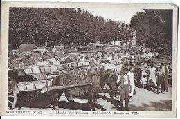 ROQUEMAURE 30 GARD LE MARCHE DES PRIMEURS SPECIALITE RAISINS DE TABLES  ATTELAGES CHEVAUX (EN 1940) - Roquemaure