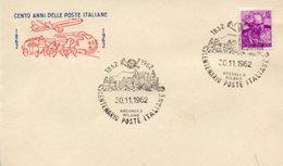 Busta 100 ANNI DELLE POSTE ITALIANE, Francobollo 15 Lire, 30/11/1962, Bollo BRENNERO MILANO - PERFETTA AM-V-2 - 6. 1946-.. Repubblica