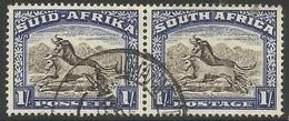 South Africa - 1952 Wildebeest 1/- Bilingual Pair  Used    SG 120a  Sc 62 - South Africa (...-1961)