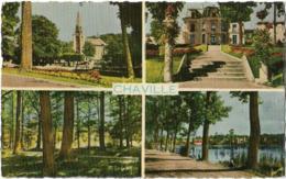 D92 - CHAVILLE - L'EGLISE-LA MAIRIE-LES BOIS-L'ETANG - CPSM Dentelée Multivues Colorisée Petit Format - Chaville
