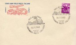 Busta 100 ANNI DELLE POSTE ITALIANE, Francobollo 15 Lire, 30/11/1962, Bollo CLAVIERE MILANO - PERFETTA AM-V-2 - 6. 1946-.. Repubblica